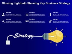 Glowing Lightbulb Showing Key Business Strategy Ppt PowerPoint Presentation Infographic Template Graphic Images PDF