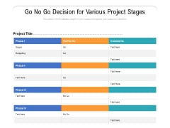 Go No Go Decision For Various Project Stages Ppt PowerPoint Presentation Gallery Format PDF
