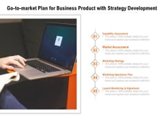 Go To Market Plan For Business Product With Strategy Development Ppt PowerPoint Presentation Ideas Design Ideas PDF