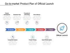 Go To Market Product Plan Of Official Launch Ppt PowerPoint Presentation Model Show PDF