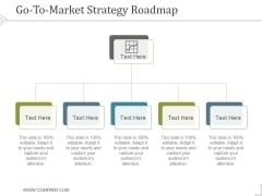 Go To Market Strategy Roadmap Template 1 Ppt PowerPoint Presentation Deck