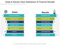 Goals And Results Client Satisfaction And Financial Strength Ppt PowerPoint Presentation Icon Ideas