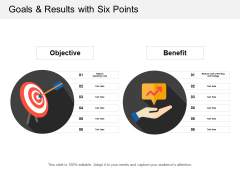 Goals And Results With Six Points Ppt PowerPoint Presentation Show Outline
