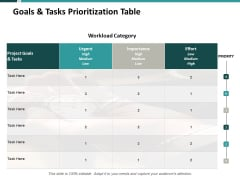 Goals And Tasks Prioritization Table Ppt PowerPoint Presentation Summary Brochure