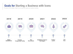 Goals For Starting A Business With Icons Ppt PowerPoint Presentation Outline Layouts