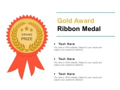 Gold Award Ribbon Medal Ppt PowerPoint Presentation Infographics Deck