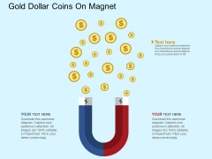 Gold Dollar Coins On Magnet Powerpoint Template