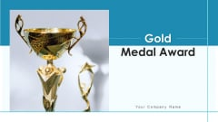Gold Medal Award Icon Dark Ribbon Ppt PowerPoint Presentation Complete Deck With Slides