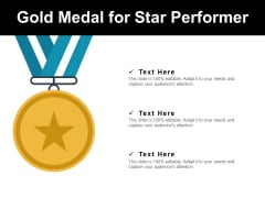 Gold Medal For Star Performer Ppt PowerPoint Presentation Inspiration Microsoft