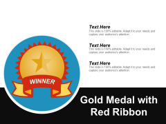 Gold Medal With Red Ribbon Ppt PowerPoint Presentation Visual Aids Infographic Template