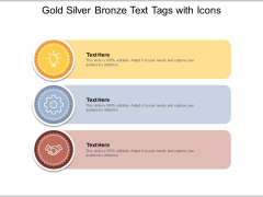 Gold Silver Bronze Text Tags With Icons Ppt PowerPoint Presentation Backgrounds