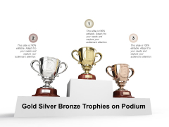 Gold Silver Bronze Trophies On Podium Ppt PowerPoint Presentation Inspiration Structure