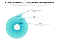 Golden Circle Model For Creating Positive Product Awareness Ppt PowerPoint Presentation Gallery PDF