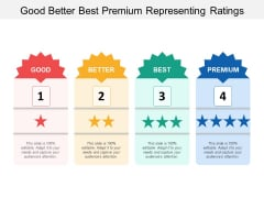 Good Better Best Premium Representing Ratings Ppt Powerpoint Presentation Summary Outfit