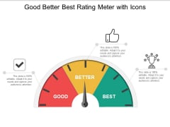 Good Better Best Rating Meter With Icons Ppt Powerpoint Presentation Outline Vector