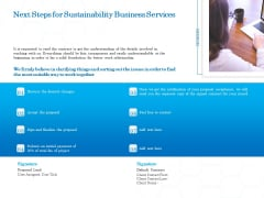 Green Business Next Steps For Sustainability Business Services Clipart PDF