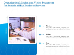 Green Business Organization Mission And Vision Statement For Sustainability Business Services Diagrams PDF