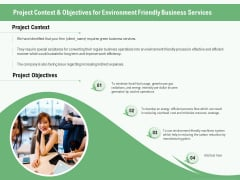 Green Business Project Context And Objectives For Environment Friendly Services Ppt Model Format Ideas PDF