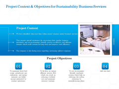 Green Business Project Context And Objectives For Sustainability Business Services Diagrams PDF