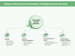 Green Business Scope Of Services For Environment Friendly Business Services Ppt Infographic Template Aids PDF