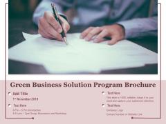 Green Business Solution Program Brochure Ppt PowerPoint Presentation File Graphics PDF