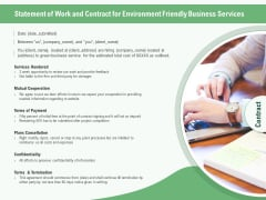 Green Business Statement Of Work And Contract For Environment Friendly Business Services Ppt File Objects PDF
