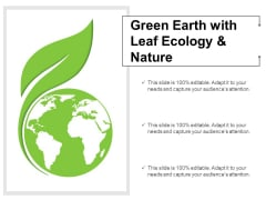 Green Earth With Leaf Ecology And Nature Ppt Powerpoint Presentation Slides Model