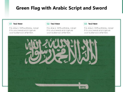 Green Flag With Arabic Script And Sword Ppt PowerPoint Presentation Gallery Graphics Template PDF