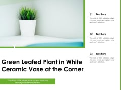 Green Leafed Plant In White Ceramic Vase At The Corner Ppt PowerPoint Presentation Icon Format Ideas PDF