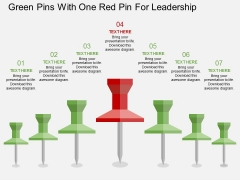 Green Pins With One Red Pin For Leadership Powerpoint Template