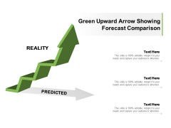 Green Upward Arrow Showing Forecast Comparison Ppt PowerPoint Presentation Ideas Examples