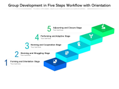 Group Development In Five Steps Workflow With Orientation Ppt PowerPoint Presentation Gallery Outline PDF