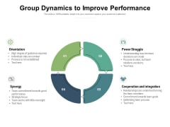 Group Dynamics To Improve Performance Ppt PowerPoint Presentation Icon Show
