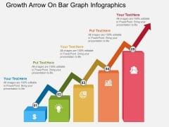 Growth Arrow On Bar Graph Infographics Powerpoint Template