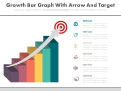 Growth Graph With Arrow On Target Board Powerpoint Slides