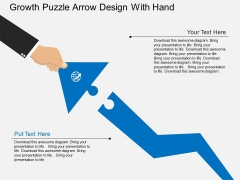 Growth Puzzle Arrow Design With Hand Powerpoint Template