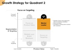 Growth Strategy And Growth Management Implementation Growth Strategy For Quadrant 2 Ppt Slides Visual Aids PDF