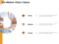 Growth Strategy And Growth Management Implementation Our Mission Vision Values Ppt Slides Example Topics PDF