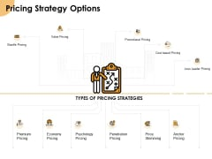Growth Strategy And Growth Management Implementation Pricing Strategy Options Ppt Ideas Introduction PDF