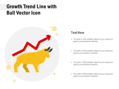 Growth Trend Line With Bull Vector Icon Ppt PowerPoint Presentation Styles Introduction PDF