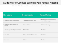 Guidelines To Conduct Business Plan Review Meeting Ppt PowerPoint Presentation Inspiration PDF