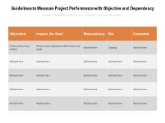 Guidelines To Measure Project Performance With Objective And Dependency Ppt PowerPoint Presentation Infographics Objects PDF