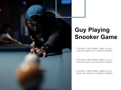 Guy Playing Snooker Game Ppt PowerPoint Presentation Gallery Outline Cpb