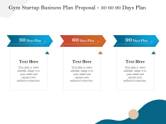 Gym And Fitness Center Business Plan Gym Startup Business Plan Proposal 30 60 90 Days Plan Infographics PDF