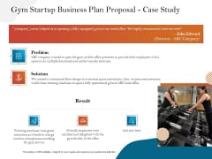 Gym And Fitness Center Business Plan Gym Startup Business Plan Proposal Case Study Background PDF