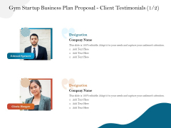 Gym And Fitness Center Business Plan Gym Startup Business Plan Proposal Client Testimonials Portrait PDF