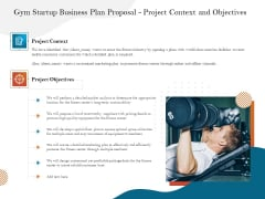 Gym And Fitness Center Business Plan Gym Startup Business Plan Proposal Project Context And Objectives Infographics PDF