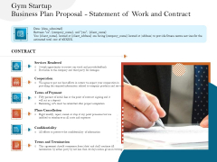 Gym And Fitness Center Business Plan Gym Startup Business Plan Proposal Statement Of Work And Contract Icons PDF