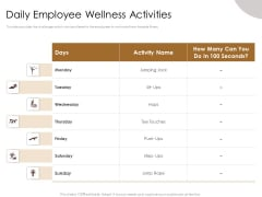 Gym Consultant Daily Employee Wellness Activities Graphics PDF