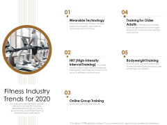 Gym Consultant Fitness Industry Trends For 2020 Infographics PDF